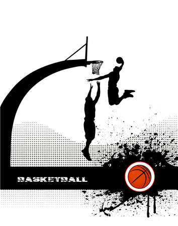 basketball match on grunge background Çizim