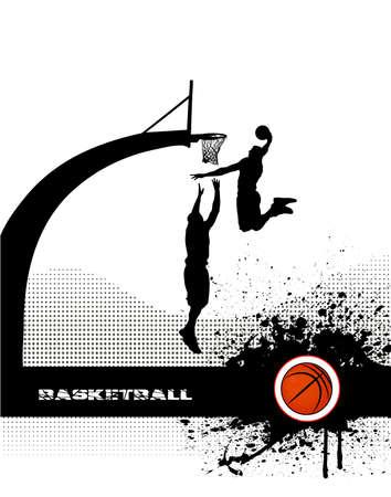 basket: partita di basket su sfondo grunge