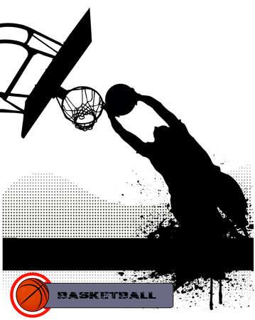 basketball team: basketball match on grunge background Illustration
