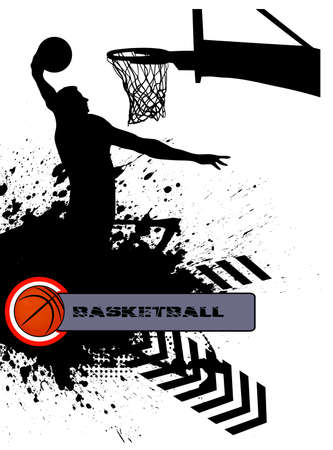 throwing ball: basketball match on grunge background Illustration