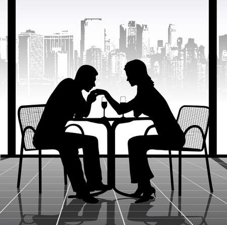 romantic meeting of two people Stock Vector - 18098223