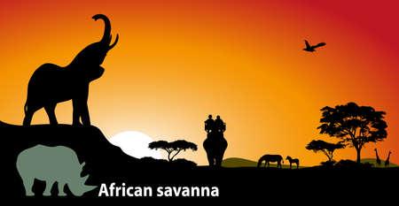 africa safari: African savanna Illustration
