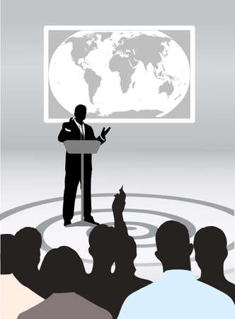 press conference: speaking to the audience in studio Illustration