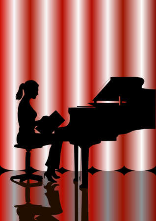 keyboard player: girl behind a grand piano Illustration