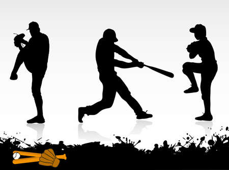 baseball pitcher: silhouettes of baseball players Illustration