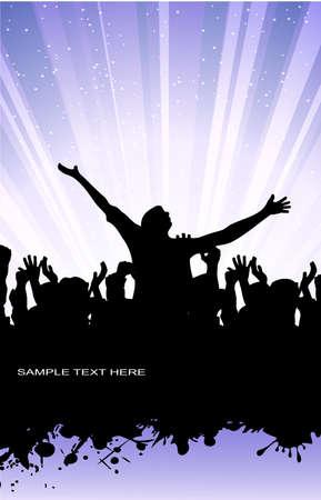 foule mains: sur l'image du groupe enthousiaste des personnes contre grunge est pr�sent�
