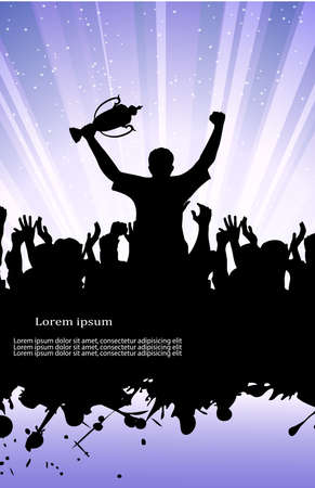 on the image the enthusiastic group of people against grunge is presented Vector
