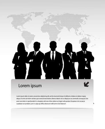 sales team: group of businessmen against a planet with a banner