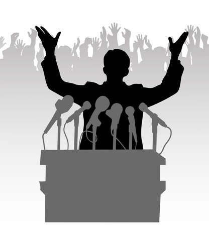 reportage: Silhouette policy before the microphone Illustration