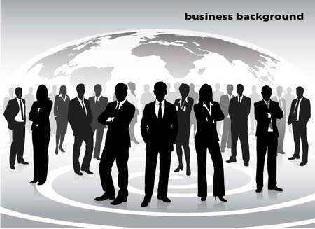 silhouettes of businessmen against a planet Vector
