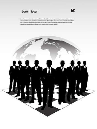 silhouettes of businessmen on a chessboard Stock Vector - 18416272