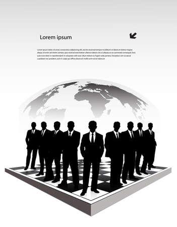 alkalmasság: sziluettek üzletemberek a sakktáblán
