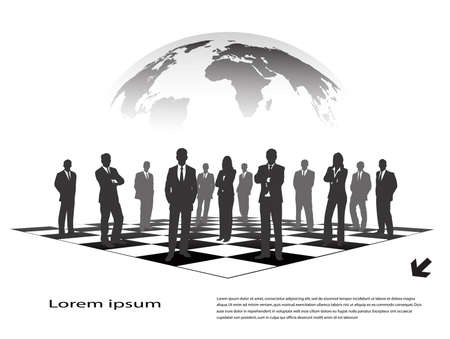 anybody: silhouettes of businessmen on a chessboard