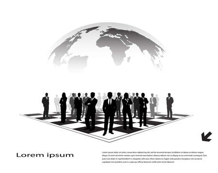 prospect: silhouettes of businessmen on a chessboard