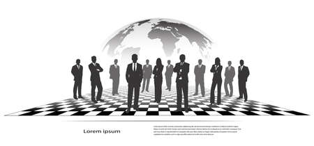 silhouettes of businessmen on a chessboard