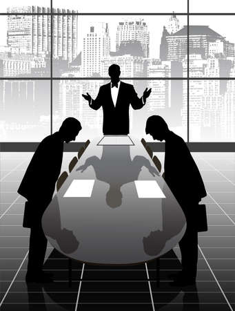 silhouettes of business people meeting Vector