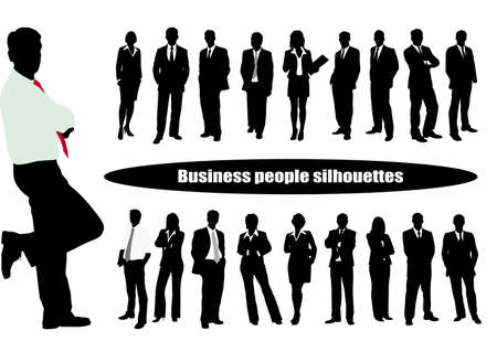 on the image it is presented silhouettes of businessmen 矢量图像