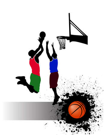 basketball match on grunge background Vector