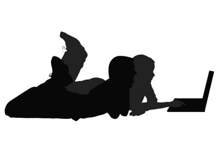 shaken: silhouettes of people at the computer Illustration