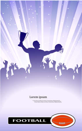 arises: abstract silhouette of the champion on soccer Illustration