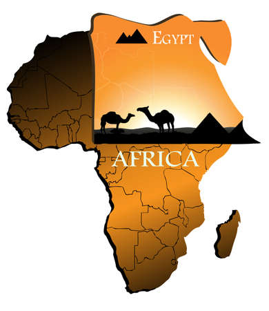 Egypt on the map of Africa Vector