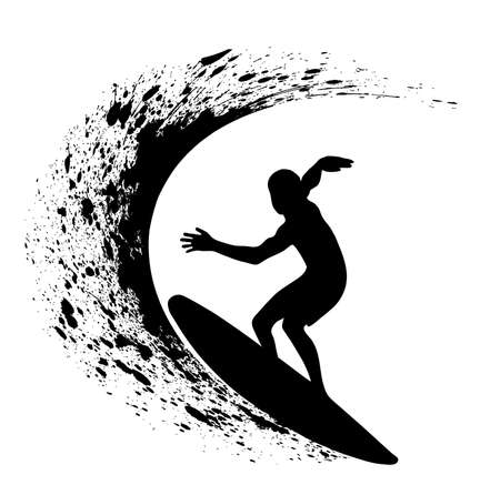 silhouettes of surfers Vector