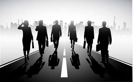 on the image the group of businessmen against the megalopolis is presented Stock Vector - 18765572