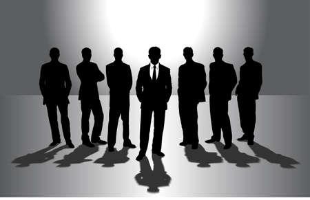 prospect: group of businessmen against the sun