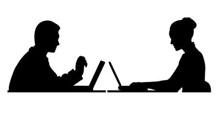 girl using laptop: silhouette of a man at the computer