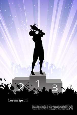 silhouette of the champion on a pedestal Stock Vector - 18755488