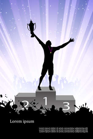 exited: silhouette of the champion on a pedestal