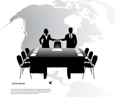 summary: businessmen on a background of the planet Illustration