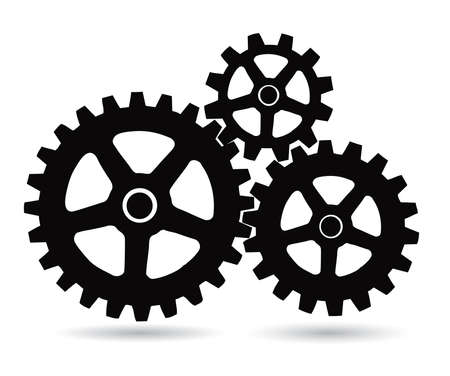 gear motion: gears on white background Illustration