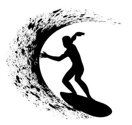 silhouettes of surfers Illustration
