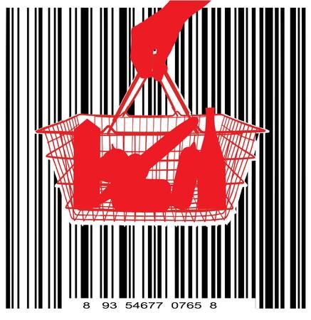 consumer basket against the bar code Vector