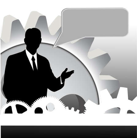 businessman on abstract technical background Vector