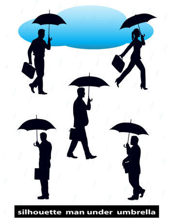 silhouette  man under  umbrella Vector