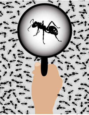 ants with a magnifying glass Stock Vector - 19314823