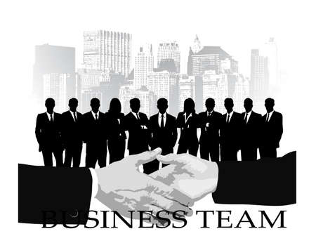 on the image the group of businessmen against the megalopolis is presented Vector