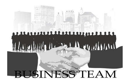 business team against the city Stock Vector - 19314832