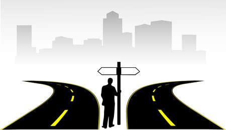 two roads: people in front of the pointer at the two roads on city background Illustration