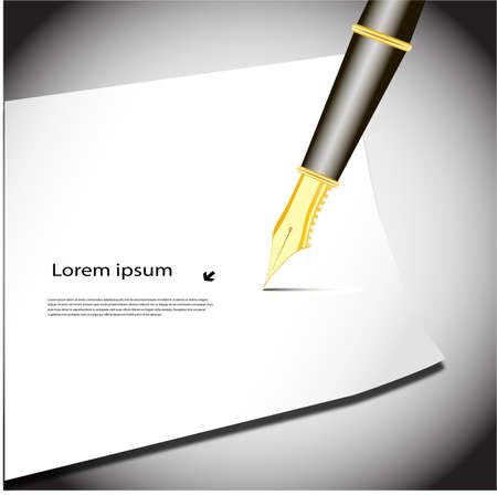 pen writing on paper business background Stock Vector - 19506715