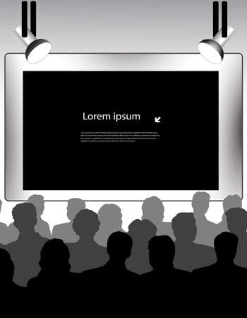 people in front of screen Vector