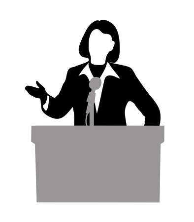 press conference: person before a microphone