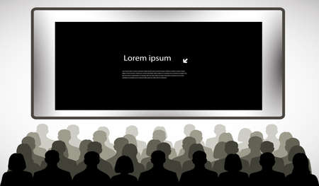people in front of screen with space for your information Vector