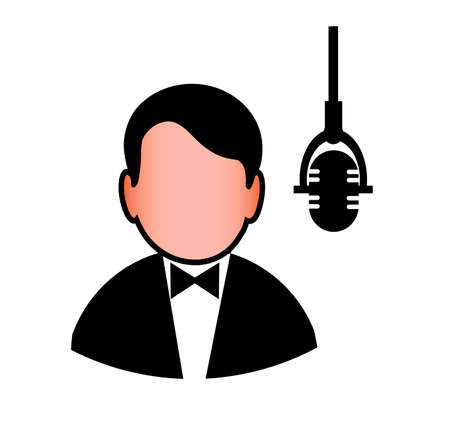icon of the man before a microphone Vector