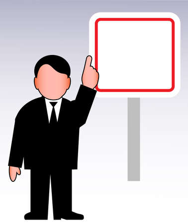 advertize: person with a banner