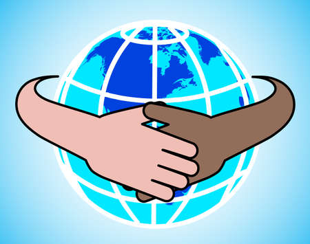 reaches: hands round the globe are symbolized by unity Illustration