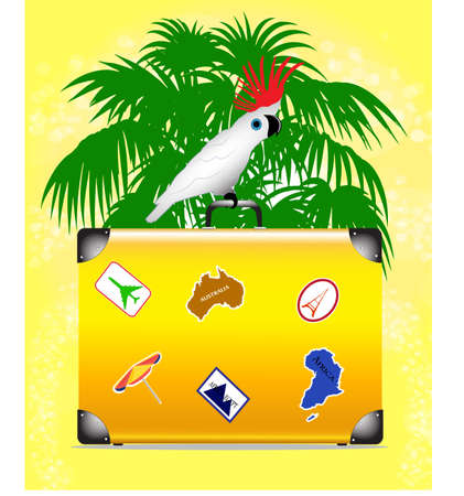 cockatoo: summer background on vacation Illustration