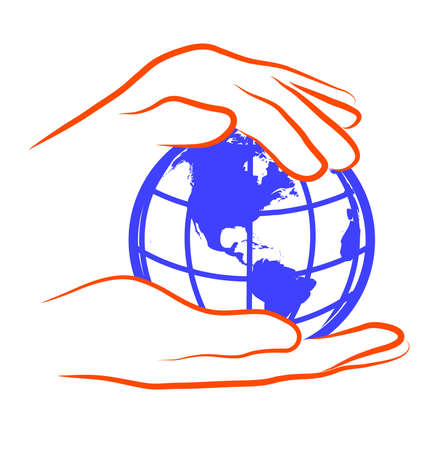reaches: hands hold the globe Illustration
